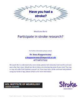 Participate in stroke research? Have you had a stroke?