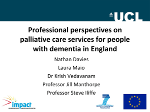 Professional perspectives on palliative care services for people with dementia in England