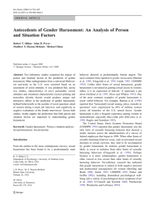 Antecedents of Gender Harassment: An Analysis of Person and Situation Factors