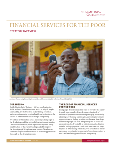 FINANCIAL SERVICES FOR THE POOR STRATEGY OVERVIEW