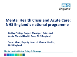 Mental Health Crisis and Acute Care: NHS England's national programme