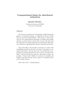 Computational limits for distributed estimation Quentin Berthet
