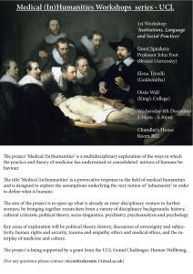 Medical (In)Humanities Workshops  series - UCL