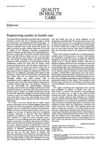 Engineering Editorial quality in health QUALITY
