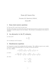 Exam #2 Answer Key 1 Some short-answer questions Economics 435: Quantitative Methods