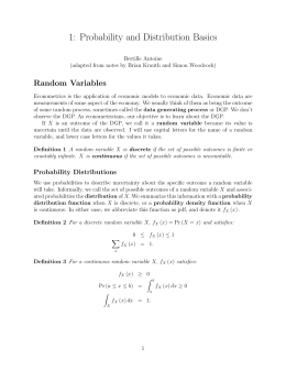 1: Probability and Distribution Basics Random Variables