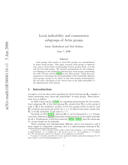 Local indicability and commutator subgroups of Artin groups June 7, 2006