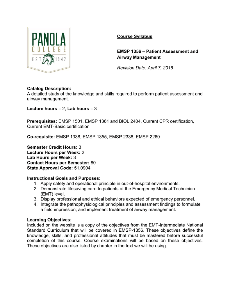 Course Syllabus Patient Assessment And Emsp 1356