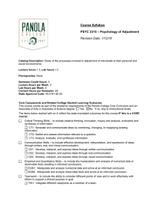 Course Syllabus – Psychology of Adjustment PSYC 2315 Revision Date: 1/12/16
