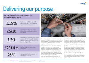 Delivering our purpose 1.15 % 7.5/10 We use the power of communications