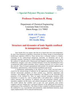 ~~Special Polymer Physics Seminar ~~ Professor Francisco R. Hung