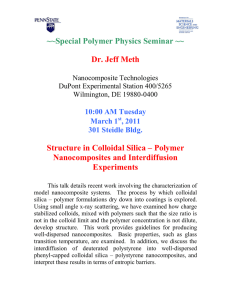 ~~Special Polymer Physics Seminar ~~ Dr. Jeff Meth