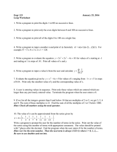 Engr 123 January 25, 2016 Loop Worksheet