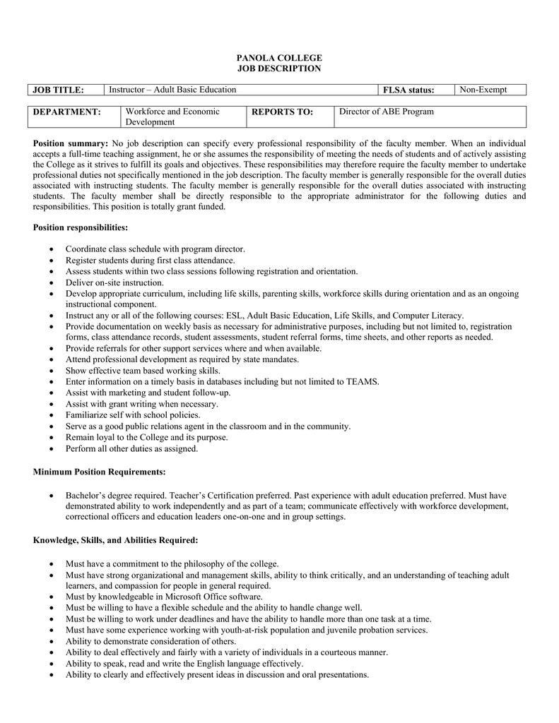 PANOLA COLLEGE JOB DESCRIPTION JOB TITLE FLSA status – Correctional Officer Job Description