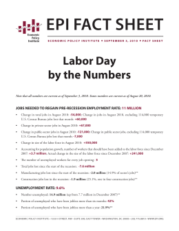 EPI Fact ShEEt labor Day by the numbers