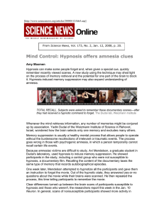 Mind Control: Hypnosis offers amnesia clues