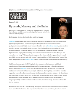 Hypnosis, Memory and the Brain [