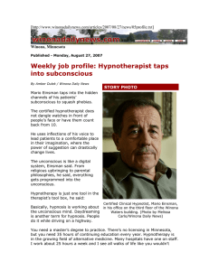 Weekly job profile: Hypnotherapist taps into subconscious [