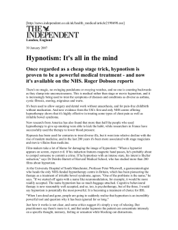 Hypnotism: It's all in the mind