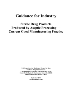 Guidance for Industry Sterile Drug Products Produced by Aseptic Processing —
