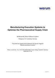Manufacturing Execution Systems to Optimize the Pharmaceutical Supply Chain