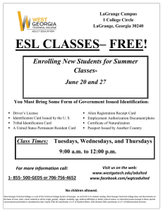 ESL CLASSES– FREE! Enrolling New Students for Summer Classes- June 20 and 27