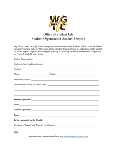 Office of Student Life Student Organization Account Deposit