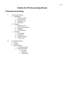 Outline for ETS Accounting Review Financial Accounting