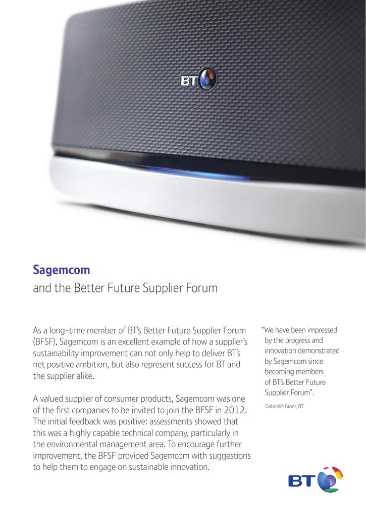 Sagemcom and the Better Future Supplier Forum
