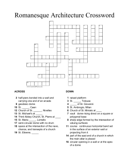 Romanesque Architecture Crossword