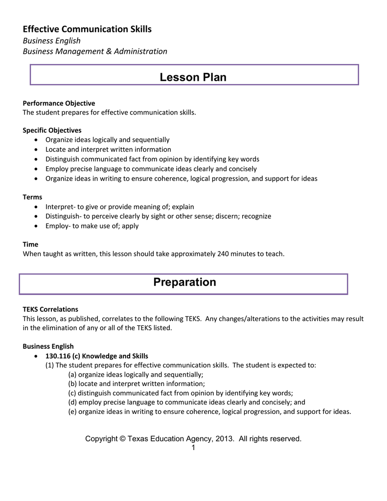 Lesson Plan Effective Communication Skills Business English