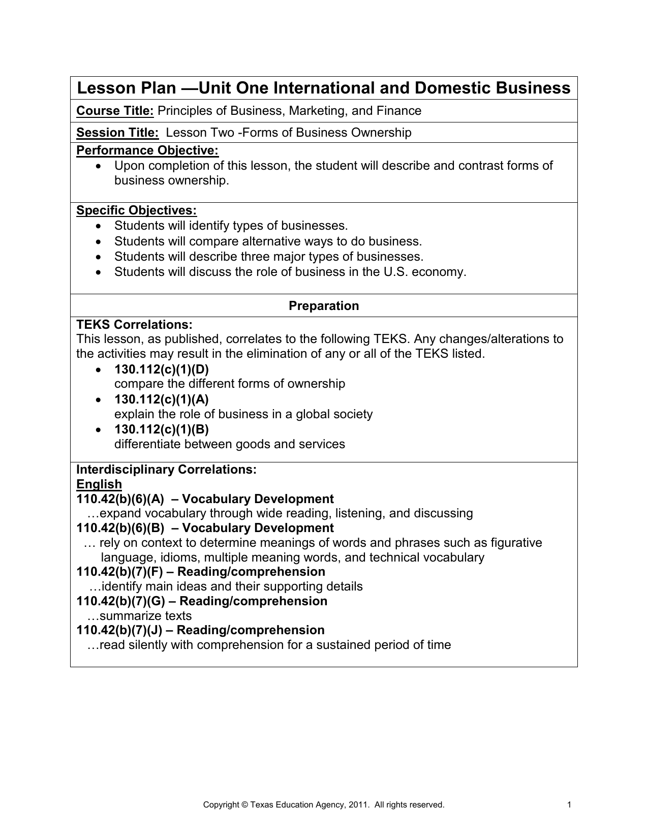 lesson plan unit one international and domestic business