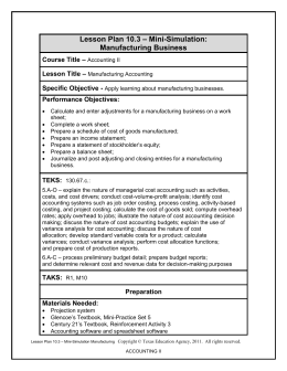 – Mini-Simulation: Lesson Plan 10.3 Manufacturing Business –