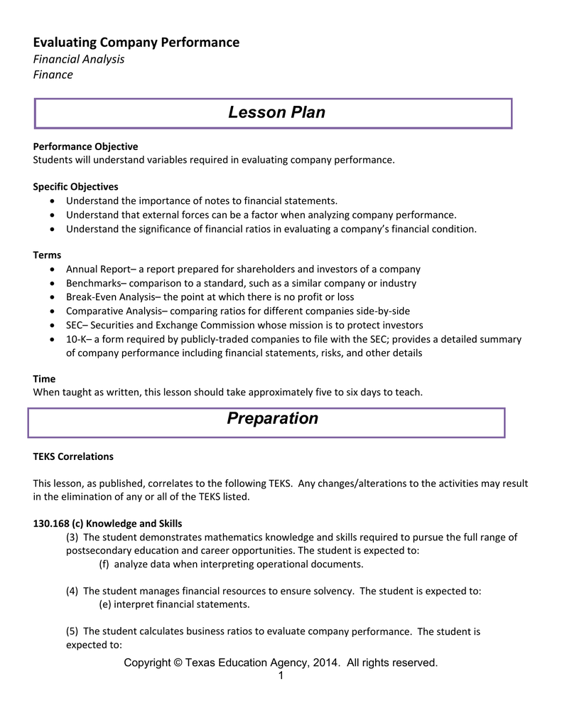 Lesson Plan Evaluating Company Performance