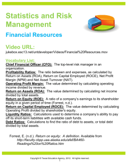 Statistics and Risk Management Financial Resources Video URL: