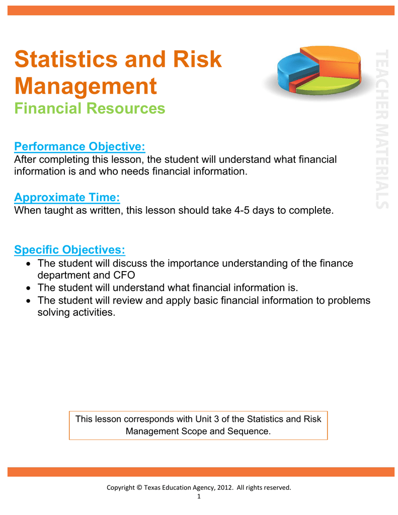 Statistics and Risk Management Financial Resources
