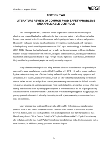 l SECTION TWO LITERATURE REVIEW OF COMMON FOOD SAFETY PROBLEMS AND APPLICABLE CONTROLS