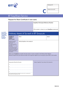 C BT EasyShare Service Request for Share Certificate in own name