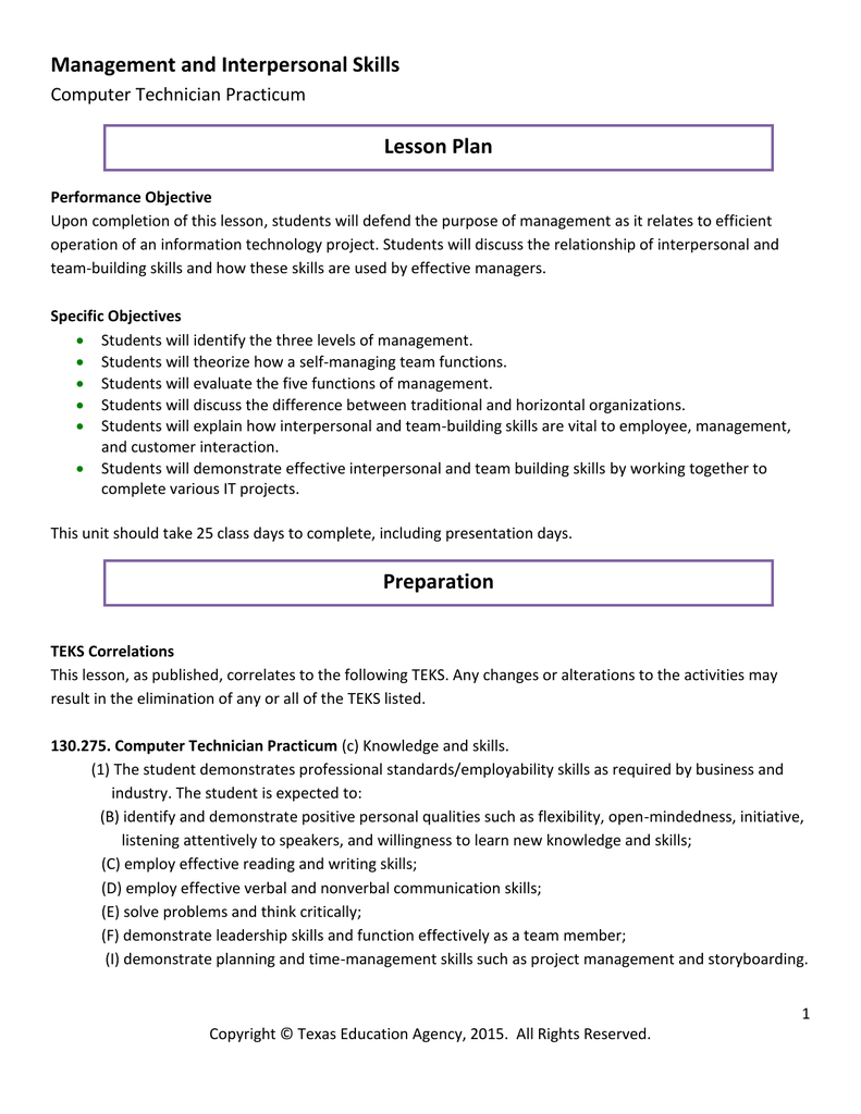 management and interpersonal skills lesson plan computer management and interpersonal skills lesson plan computer technician practicum