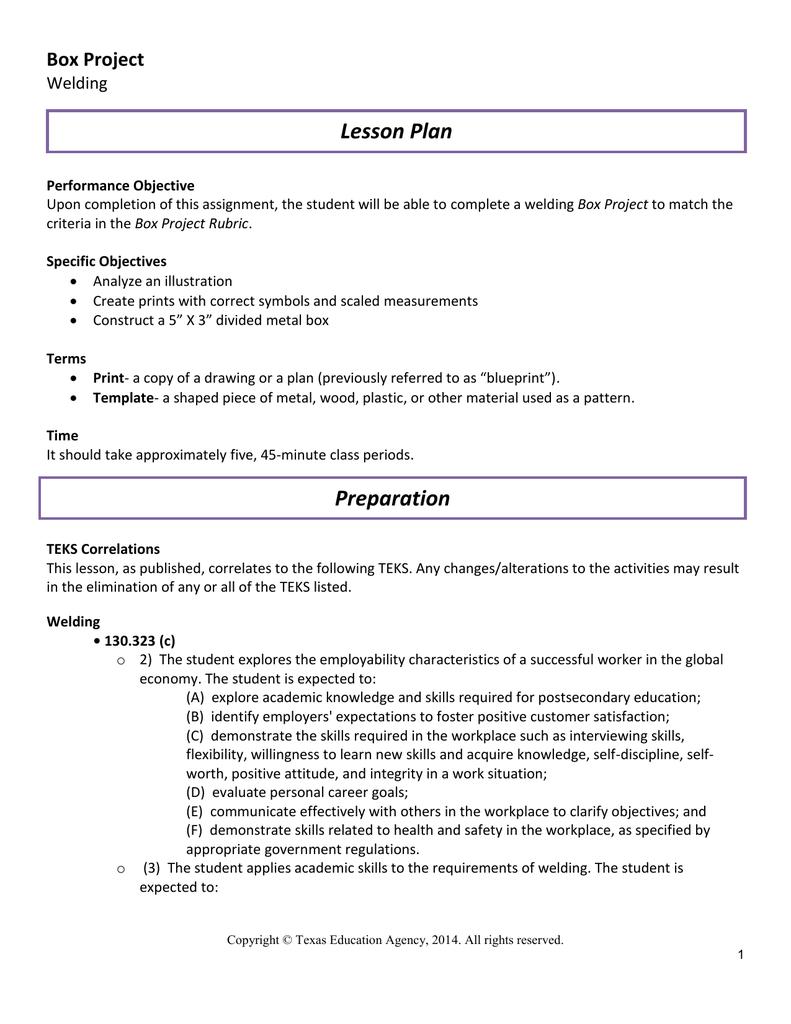 Lesson Plan Box Project Welding