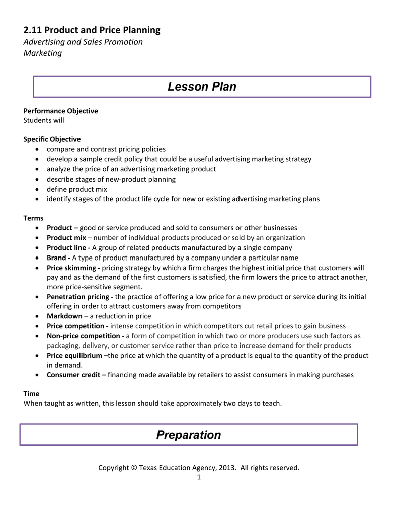 c9e93af3de25 Lesson Plan 2.11 Product and Price Planning Advertising and Sales Promotion  Marketing