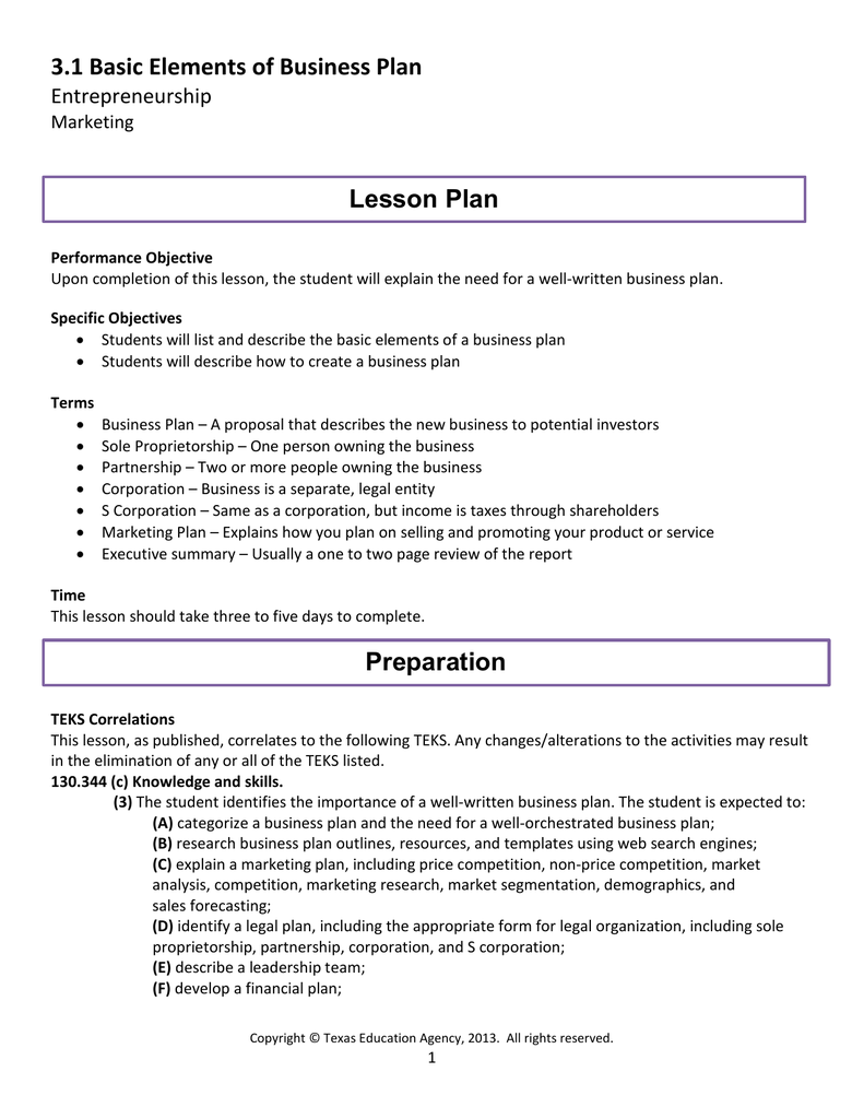 Business Plan Lesson
