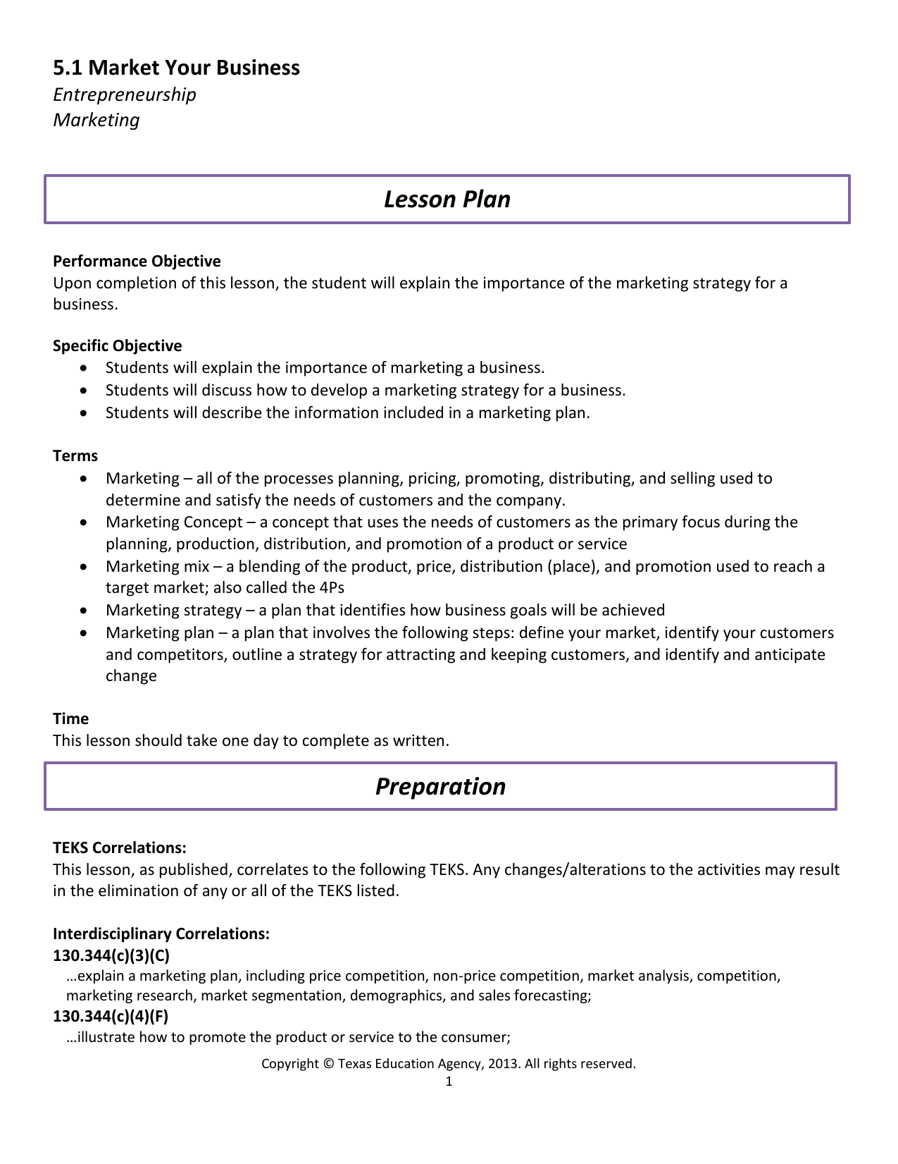 Marketing Lesson Plan On Pricing Best Market - Single subject lesson plan template