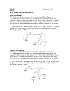 EE 210 October 6, 2015 Lab 7 Inverting and non-Inverting Amplifier