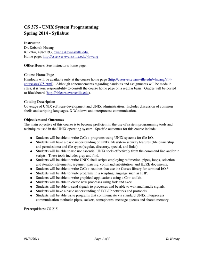 CS 375 UNIX System Programming Spring 2014 Syllabus