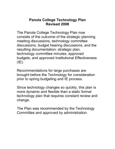 The Panola College Technology Plan now meeting discussions, technology committee