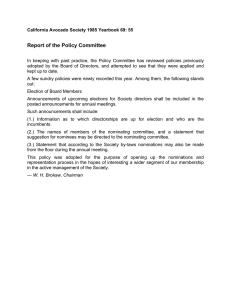 Report of the Policy Committee