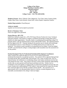 College of San Mateo Budget Planning Committee (BPC) Meeting Summary May 21, 2012