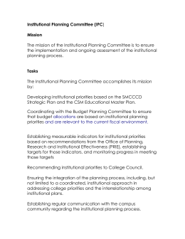 Institutional Planning Committee (IPC Mission