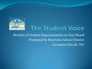 Benefits of Student Representation on Your Board Carnation/Duvall, WA